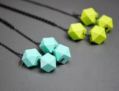 Neon TRIBLOCK Faceted Wooded Cube Charm Necklace by PeekoApparel, $26.00