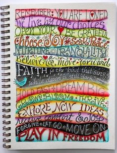 Keep creativity alive. Play with colors, wavy lines & lettering. Lettering examples for your journal or Smash Book here. Art Journal Pages, Journal D'art, Wreck This Journal, Creative Journal, Art Journals, Journal Challenge, Visual Journals, Art Journal Prompts, Journal Ideas Smash Book