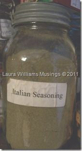 Italian Seasoning – Make Your Own 1/3 cup dried Basil leaves 1/3 cup dried Oregano leaves 2 TBS dried Parsley flakes 2 TBS dried Thyme leaves 2 tsp dried Garlic, minced  Mix and store in an airtight container.  You can double or triple this recipe for a big batch.