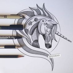 https://www.behance.net/gallery/36578815/Unicorn-Tattoo-Design