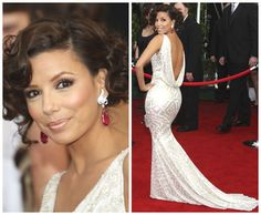 Eva Longoria giving some old Hollywood glamour wearing a sexy ice white Naeem Khan Spring 2008 gown with her dazzling Verdura earrings.