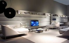 Living room ideas modern with white furniture in cold grey room add black decoration make elegant and luxury