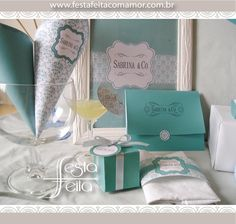 """Breakfast at Tiffany's inspired party, party printable, party decor. Color close to """"Tiffany  Blue"""". If I never see turquoise used for """"Tiffany  Blue"""", it won't be soon enough!"""