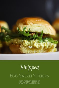 Light and Fluffy Whipped Egg Salad Sandwiches on Buttery and Rich Brioche Sliders from TheAmabiscas.com