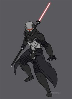 Another star wars OC of mine, actually there are a group of these. These are basically the personal assassins of Darth Lord Mundus. They have an array of light sabers, this one wields a light saber...