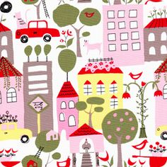 Pink Homes | City Scene Collection | Organic Cotton