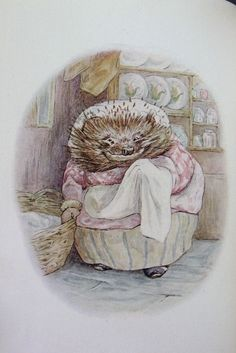 Beatrix Potter's The Tale of Mrs. Tiggywinkle which the hedgies have me read to them over and over.