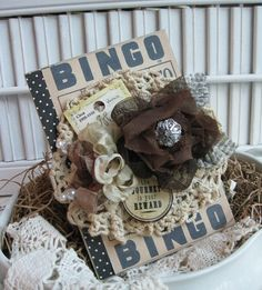 full of detail.this card comes covered in large bingo card, tea stained vintage crochet doily, double layered rose made from sewn tulle and Shabby Chic Flowers, Burlap Flowers, Diy Flowers, Fabric Flowers, Paper Flowers, Blooming Flowers, Vintage Diy, Vintage Cards, Vintage Crochet