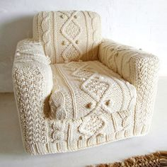 How cozy does this look?!  I would love this cover for the chairs in my bedroom! #chair #cover #knit
