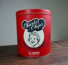 Vintage Charles Chips Potato Chip Can Chip Tin S.T. by ColorGirlz