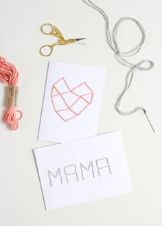 DIY: Bestickte Muttertagskarte - we love handmade Mothers Love, Personalized Items, Day, Cards