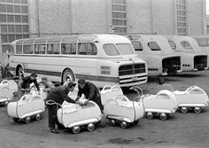 Ikarus bus company made Ikarus prams to boost the Hungarian population. Image from Féner, Tamás. Old Pictures, Old Photos, Vintage Photos, World Press Photo, Vintage Pram, Pram Stroller, Baby Prams, Narrowboat, Famous Photographers