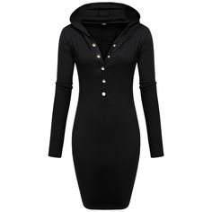 Autumn Sexy Hooded Long Sleeve Dress V Neck Bodycon Cotton Fit Button Solid Casual Party Pencil Dress Plus Size 3XL