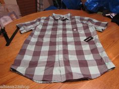 Men's Modern Amusement button up shirt CROW RARE short sleeve plaid mint S NEW