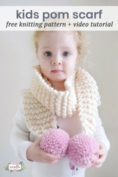Knit this kids perfect pom pom scarf in the perfect toddler child size with the most beautiful poms! Free knitting pattern and video tutorial from Sewrella + Knifty Knittings!
