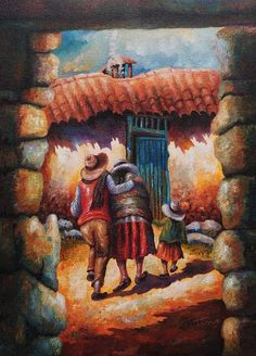 'Home Front' - Original Painting Andean Scene Signed Peru Mexican Artists, Mexican Folk Art, Hispanic Art, Peruvian Art, South American Art, Custom Gift Boxes, Southwest Art, Antique Photos, Art Forms