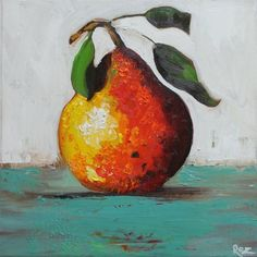 10x10+Print+of+oil+painting+Pear+17+by+Roz+by+RozArt+on+Etsy,+$23.00