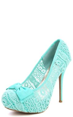 Wild Diva Lounge Sonny-73 Bow Lace Platform Pumps MINT