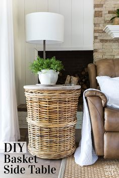 This diy end table or side table is easy to make using a wicker basket and a pre-made wood top from the home improvement store. Side table decor idea that can be made in minutes, no power tools needed. Diy Furniture Redo, Diy Furniture Projects, Repurposed Furniture, Burlap Projects, Diy Projects, Burlap Crafts, Primitive Furniture, Furniture Refinishing, Diy Crafts