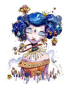 moon Japanese Illustration, Watercolor Illustration, Art Sketches, Art Drawings, Character Art, Character Design, Mother Art, My Art Studio, Art For Art Sake