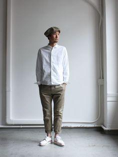 732 : Strato Japan Men Fashion, Korean Fashion Men, Mens Fashion, Muji Style, Smart Casual Menswear, Japanese Outfits, Fashion Lookbook, Streetwear Fashion, Timeless Fashion