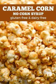 This easy homemade caramel corn is perfectly delicious and is a real crowd pleaser. Made without corn syrup and is dairy-free and gluten-free. Homemade Carmel Corn, Caramel Corn Recipes, Homemade Popcorn, Popcorn Recipes, Popcorn Flavours, Best Gluten Free Recipes, Gluten Free Pizza, Easy Recipes, Keto Recipes