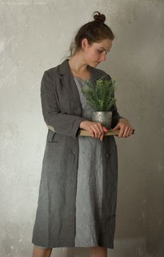 WORK JACKET IN GREY LINEN https://www.etsy.com/uk/shop/KnockKnockLinen?ref=listing-shop-header-item-count