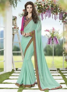 Light Turquoise Faux Georgette With Border Work Saree http://www.angelnx.com/