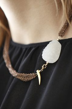 Quartz + Multi-Chain Necklace