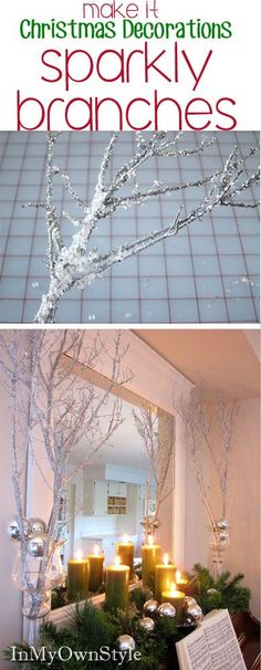 Make these sparkly tree branches to decorate your house for Christmas.  An easy DIY Christmas Decoration under $10. Christmas Projects, Christmas Gifts, Christmas Ideas, Christmas 2016, Rustic Christmas, Christmas Ornaments, Holiday Ideas, Holiday Crafts, Merry Christmas