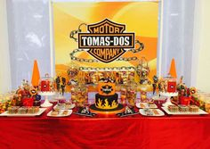 Check out this amazing motorcycle birthday party! See more party ideas at CatchMyParty.com!