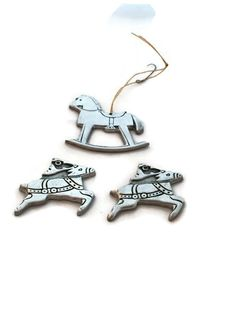 Wilton Armetale Pewter Ornament, Two Reindeer and a Rocking Horse Tree Decoration, Vintage Home Decor