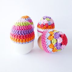 Egg cozy patterns by My Crochet Shop via Etsy. Inspiration for: cream, white or Kraft background with paper piecings in these color combinations, black or white alpha's.