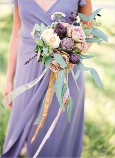 mix shades of plum and lavender with apricot and dusky pinks. love the eucalyptus foliage with these colours