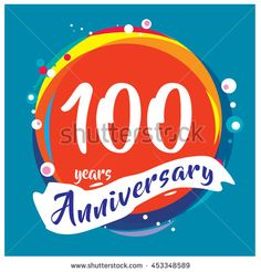 100th years greeting card anniversary with colorful number and frame. logo and icon with circle badge and background