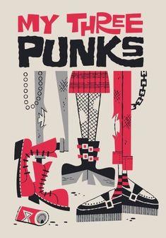DEREK YANIGER My three punks Obra de arte a la venta en La Fiambrera Art Gallery. Pop Art, urban art, illustration, Pop surrealism, & lowbrow.