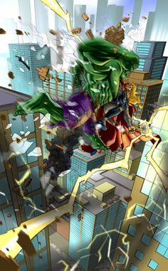 #Hulk #Fan #Art. (Hulk Vs Thor Final Colors) By:Pureluck13. (THE * 5 * STÅR * ÅWARD * OF: * AW YEAH, IT'S MAJOR ÅWESOMENESS!!!™)[THANK Ü 4 PINNING!!!<·><]<©>ÅÅÅ+(OB4E)