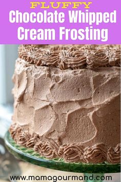 cream frosting Chocolate Whipped Cream Frosting is light and fluffy, yet sturdy and stabilized enough to pipe on cupcakes or cakes. The perfect dark and sweet taste! Stabilized Whipped Cream Frosting, Whipped Chocolate Frosting, Fluffy Frosting, Chocolate Frosting Recipes, Whipped Frosting, Chocolate Icing, Whip Cream Frosting, Pudding Frosting, Homemade Frosting Recipes