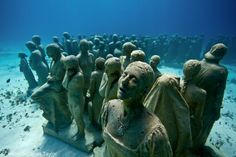 Silent Evolution by Jason deCaires Taylor; Underwater Concrete Sculptures  Depth 8m, MUSA Collection, Cancun/Isla Mujeres, Mexico...a little bit like The Walking Dead under water!