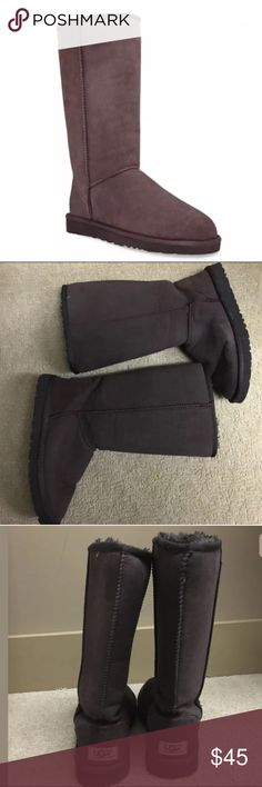 Ugg Womens Brown Suede Classic Tall Boots Size 7 Fits true to size Round toe; pull on; reinforced seams Genuine sheepskin lining naturally wicks away moisture and keeps feet dry  Genuine sheep fur: dyed; fur imported from Australia. Real sheep/lamb fur or UGGpure™ wool sockliner/insole/heel/shaft counter. To learn if your product contains UGGpure™ wool, check the insert card in the box. Genuine sheepskin/leather upper, genuine sheep fur lining, eva sole Excellent used condition! Free from…