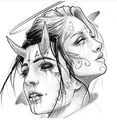 Yin und Yang 🌕🌑 bei Inspirationde Tattoos And Body Art tattoo flash art Dark Art Drawings, Pencil Art Drawings, Art Drawings Sketches, Tattoo Sketches, Tattoo Drawings, Cool Drawings, Demon Drawings, Sketch Tattoo Design, Realistic Drawings