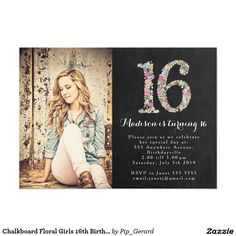 Chalkboard Floral Girls 16th Birthday Party Invite
