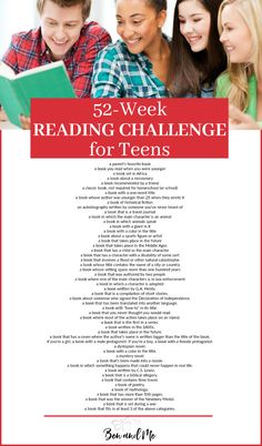This reading challenge for teens is fun, outside the box, and interesting enough your kids will want to accept my challenge to read 52 books in the coming year!
