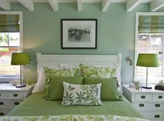 soft green paint colors for bedroom and white curtain windows | my