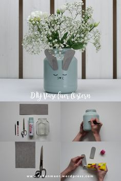 DIY upcycling vase for easter - fadenmaer - DIY Ideen und Nähen - Diy Upcycling, Upcycle, Easter Table Decorations, Floating Shelves, Vase, Recycling, The Incredibles, Creative, Home Decor