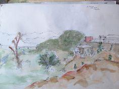 Rio Elqui, La Serena. numero 18 Acuarela Autor: Guillermo Valdivia Villalobos
