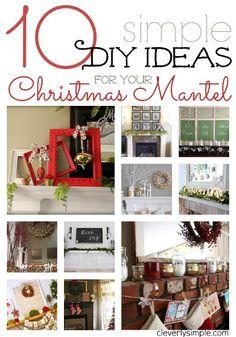 Simple DIY ideas for your Christmas Mantel. #diy #christmas