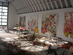 Judy Pfaff's compound the best, based in Tivoli, NY, near where she is co-chair of the studio arts program at Bard College. One of her spaces looks like the interior of an airport hangar. This video notes her exclamation that 'you have to have a lot of space!'.