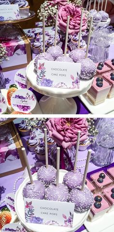 Rich, decadent Chocolate Cake Pops covered in a lilac chocolate bark with white sprinkles for our Purple Florals Dessert Table.   Credits: Cake Pops made by Cakes N Cravings.