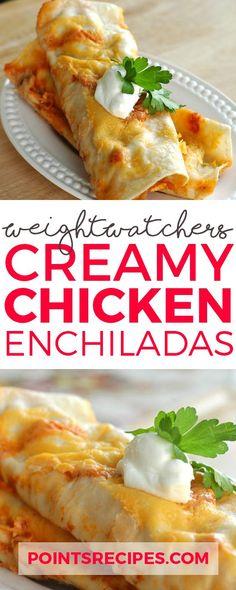 Creamy Chicken Enchiladas (Weight Watchers SmartPoints) 6 pts each Ww Recipes, Mexican Food Recipes, Dinner Recipes, Cooking Recipes, Healthy Recipes, Recipies, Mexican Dishes, Light Recipes, Cooking Ideas